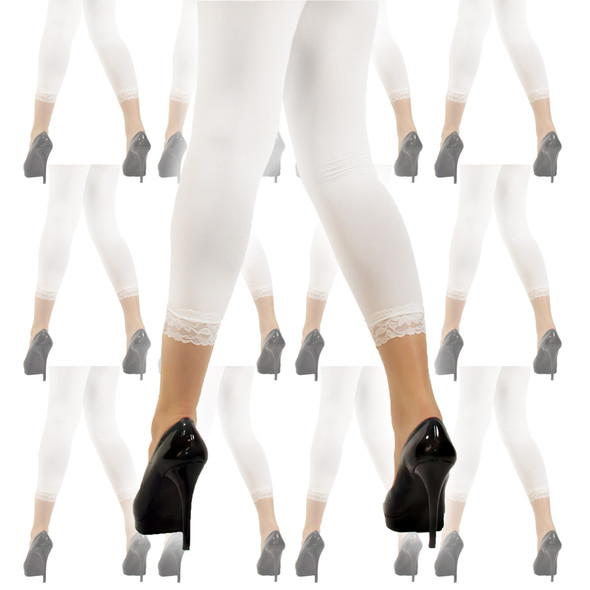 Footless Tights White with Lace Bottom 12 PACK  8013D