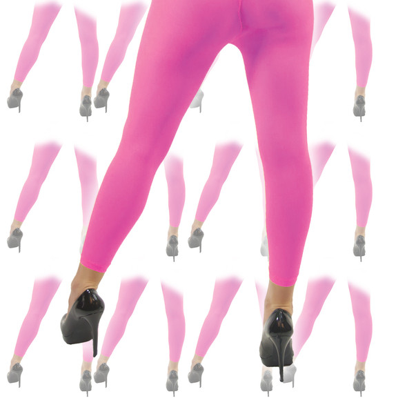 Neon Pink Footless Tights 12 PACK 8016D
