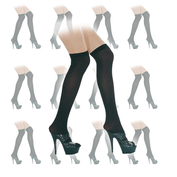 Black Sheer Thigh High Stockings 12 PACK 8021D