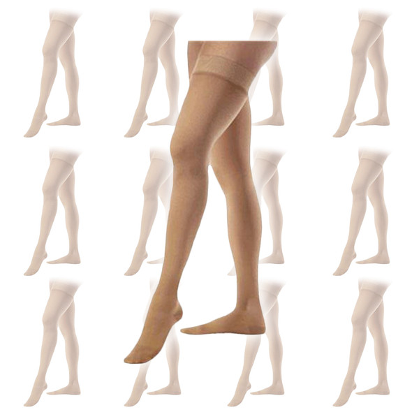 Beige Sheer Thigh High Stockings 12 PACK 8023D