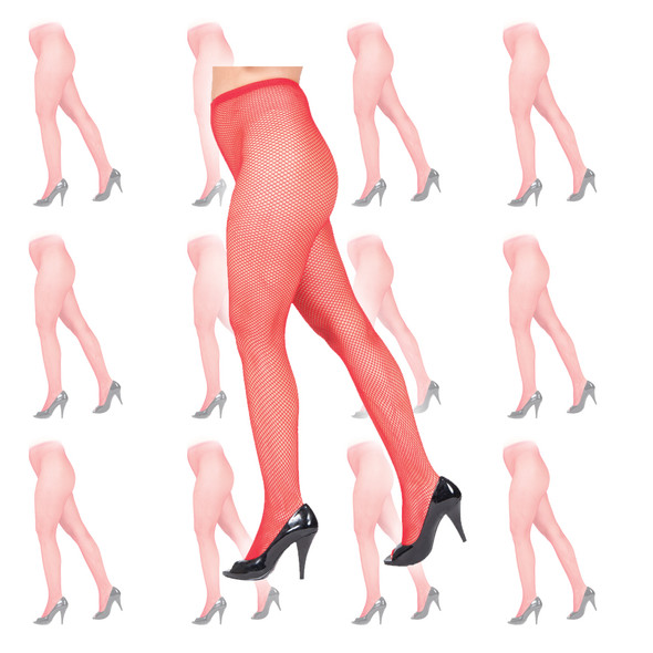 Red Fishnet Pantyhose 12 PACK 8042D