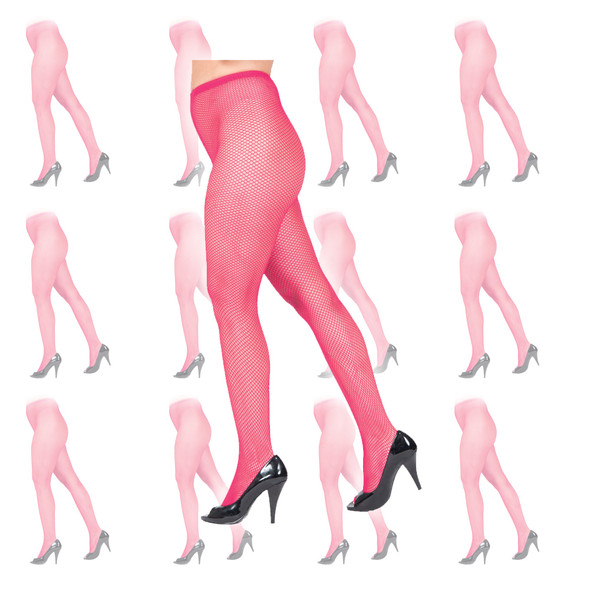 Hot Pink Fishnet Pantyhose Tights 12 PACK 8043D