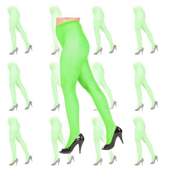 Green Fishnet Pantyhose Tights 12 PK 8046D