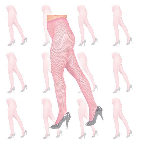 Light Pink Fishnet Pantyhose Tights 12 PACK 8047D