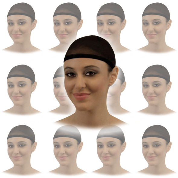 Black Wig Cap 12 PACK  216D
