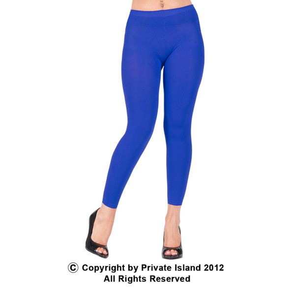 Premium Opaque Royal Blue Footless Leggings Cotton/Polyester  12 PACK  8094D