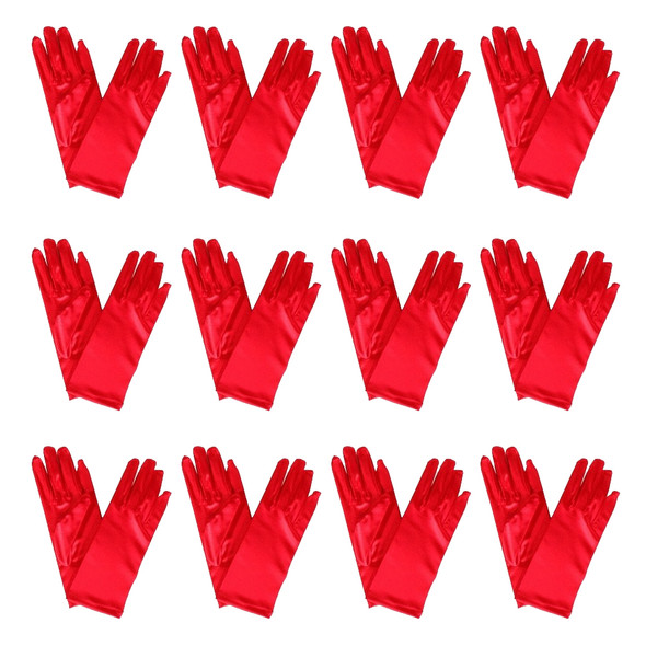 "Red Short Dress Gloves Satin 12 PACK 9""1203D"