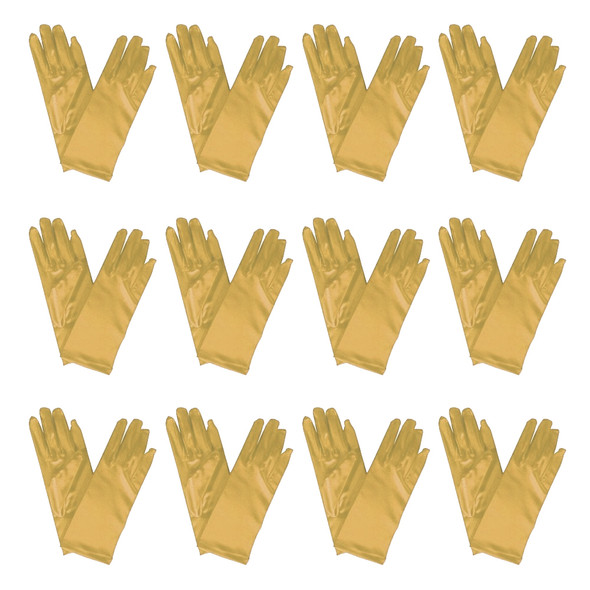 "Gold Short Dress Gloves Satin 9"" 12 PACK 1205D"