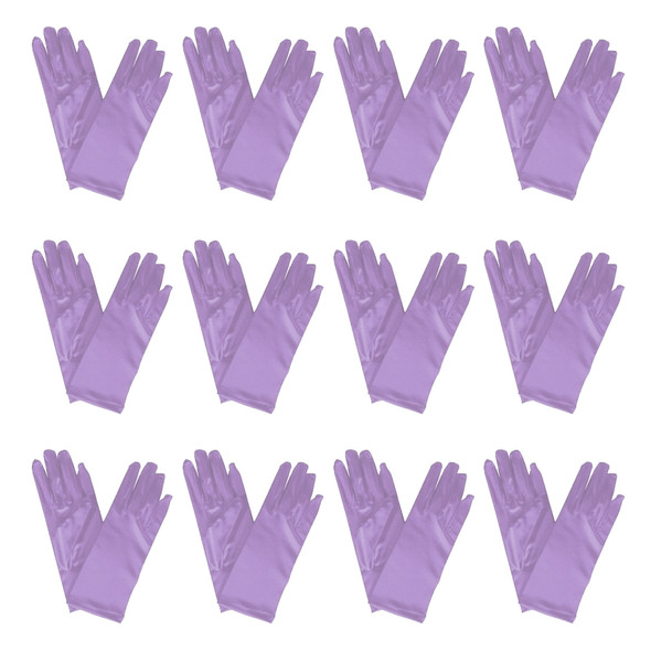 "Short Dress Gloves Lavender Satin 9"" 12 PACK 1207D"