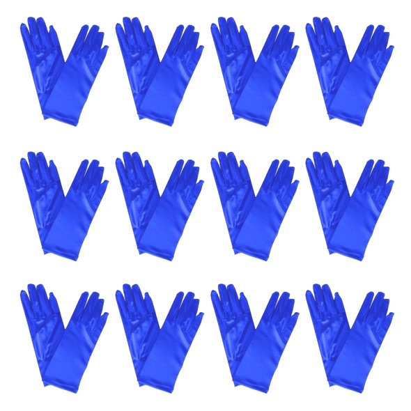 "Short Royal Blue Dress Gloves Bulk Satin 12 PACK 9"" 1208D"
