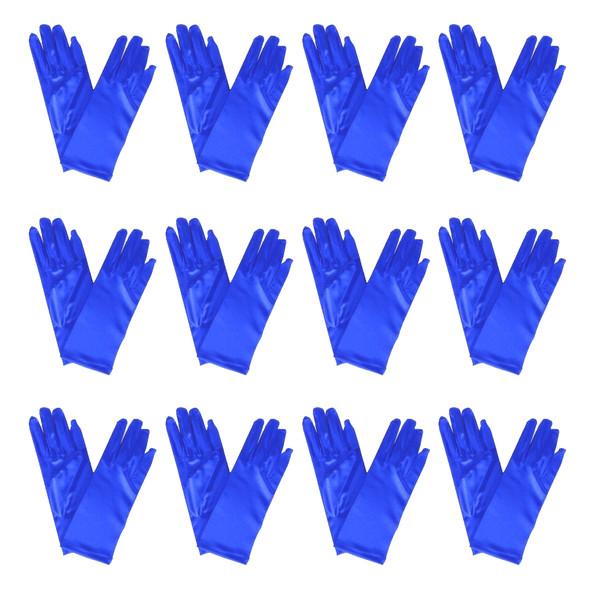 """Short Royal Blue Dress Gloves Bulk Satin 12 PACK 9"""" 1208D"""