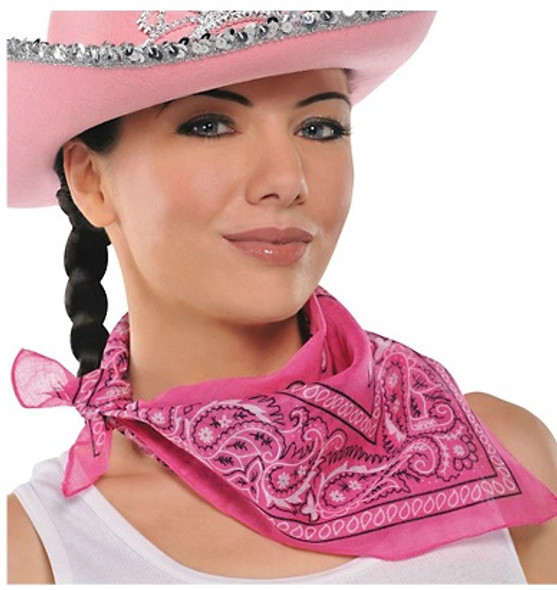 """Pink Cowgirl Costume Bandana 22"""" Square Standard 100% Cotton 1917 12 PACK"""