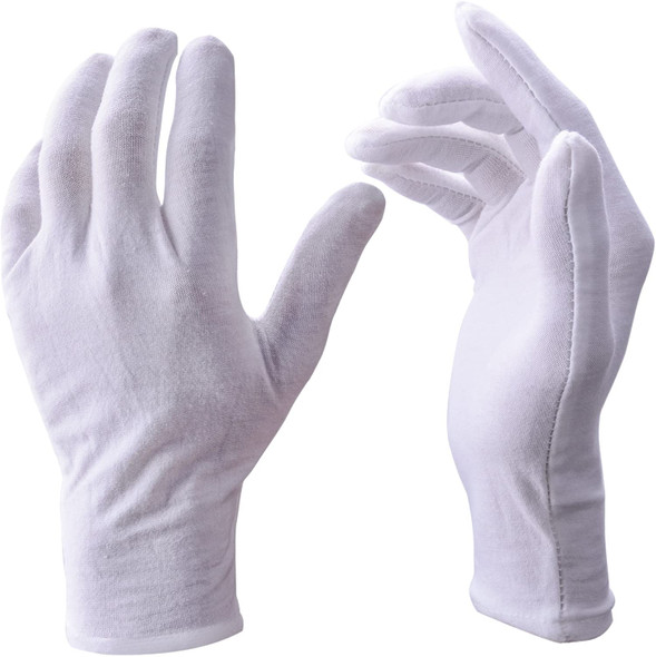 "Glove Liners |  White Cotton Inspection Gloves Size Large Adult PAIR Large Size 8"" Length12 PACK 5020W"