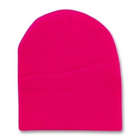 Short Beanie Hat Hot Pink 5742