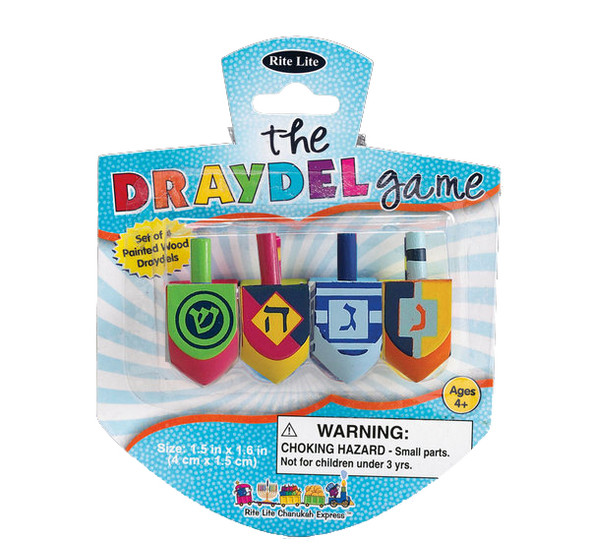 Wooden Draydel Game Channukah Set of 4 - 9215