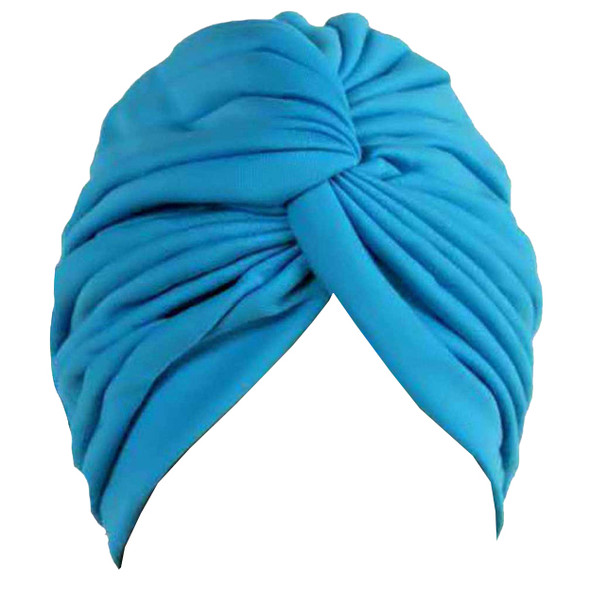 Light Blue Turban Head Cover Hat 5979