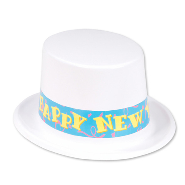 12 PACK Happy New Year Top Hat White 5936