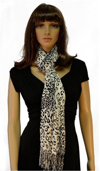 Leopard Shawl Wrap Black/White Pashmina 2098