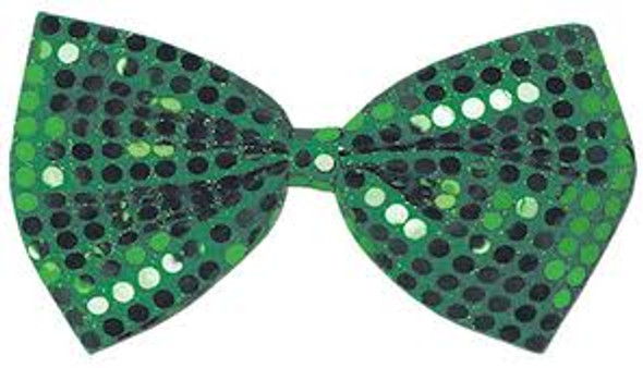 St Patricks Green Sequin Bow Tie 6803
