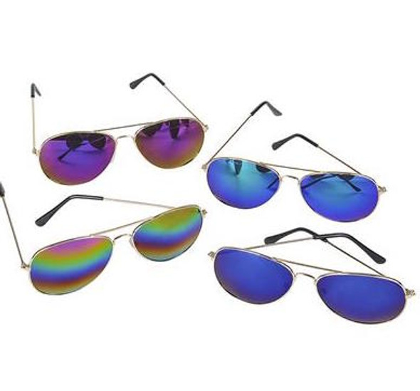 Multicolored Aviators Reflective Mirror Sunglasses 12 PACK 7130D