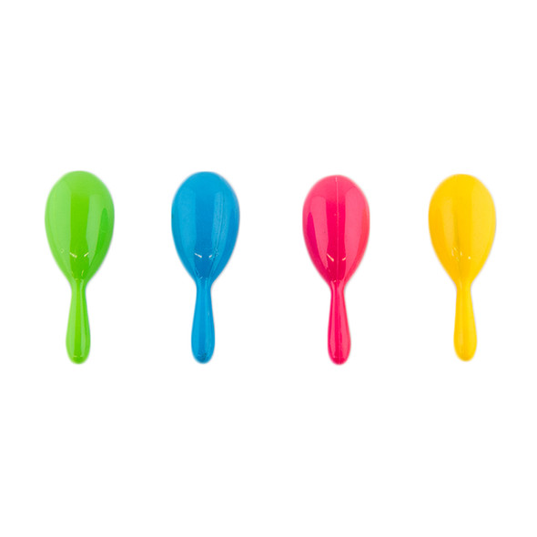 Plastic Neon Maracas Kids Cinco De Mayo (12 PACK) Mixed Colors 1765A