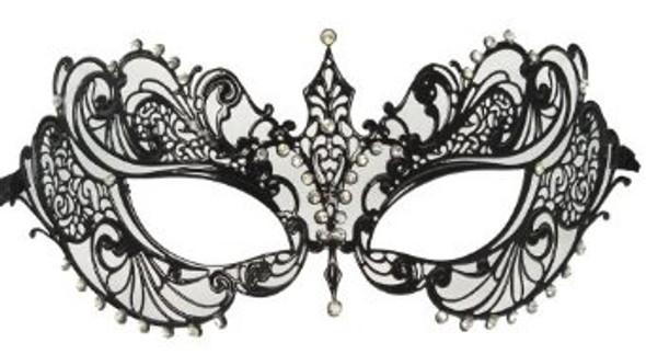 Filigree Black Mask Laser Cut Venetian Masquerade Mardi Gras 9229