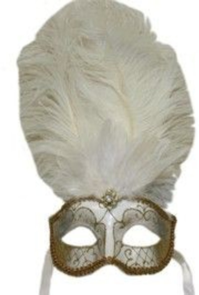 M6151 Feather Mask Mardi Gras Masquerade W/ Ostrich Boa White/Gold 9237