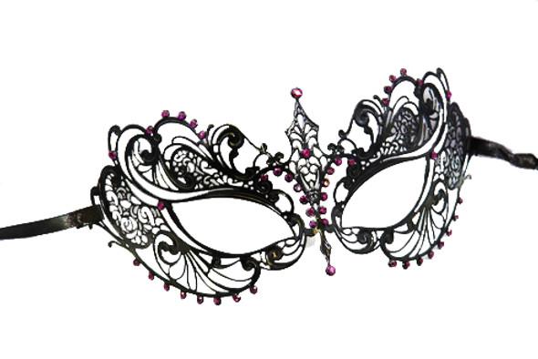 Metal Venetian Mardi Gras Laser Cut Mask Filigree Black/Purple 9250