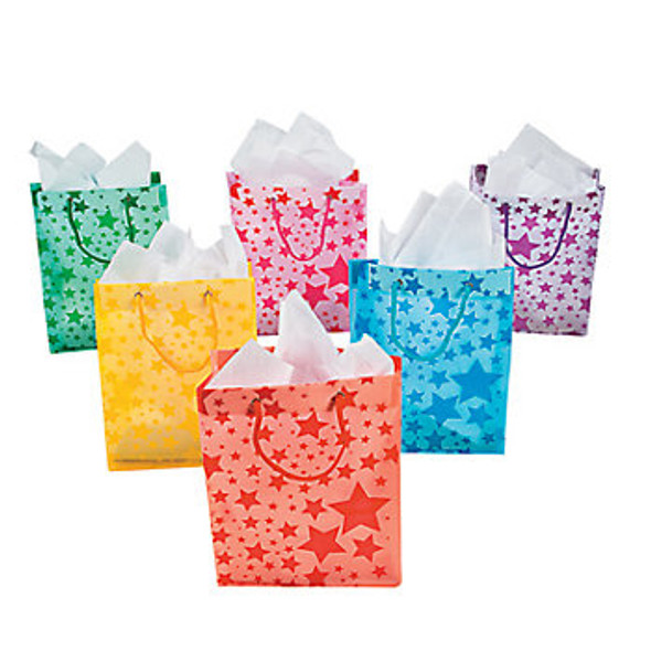 12 PACK Frosted Star Gift Bags 3943D