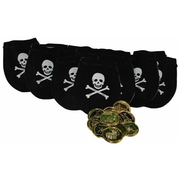 12 PACK Pirate Drawstring Bags with Gold Coins 9270D