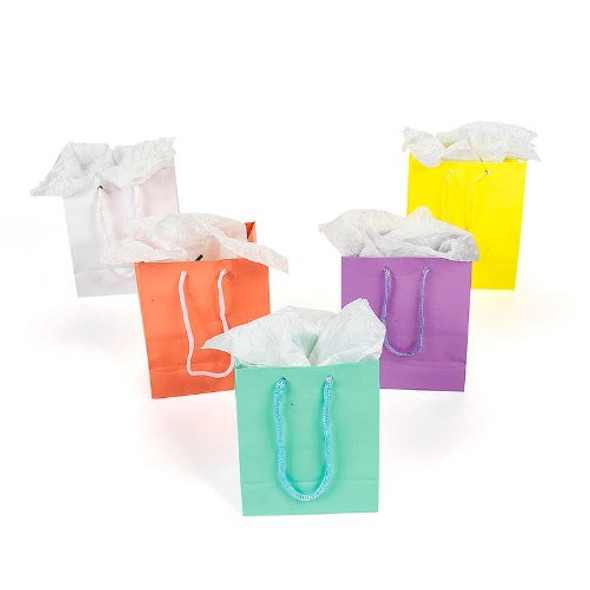 12 PACK Small Pastel Gift Bags 3920D
