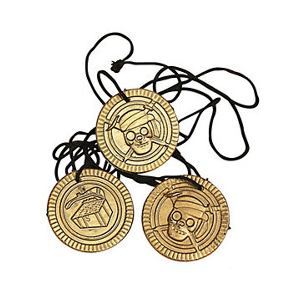 12 PACK Pirate Coin Necklaces 9280