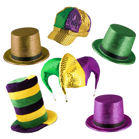 Mardi Gras Hat Assortment 5870ASST 12 PK MIXED
