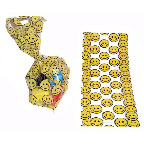 Smiley Face Goody Treat Bags Cellophane 12 PK 3935D