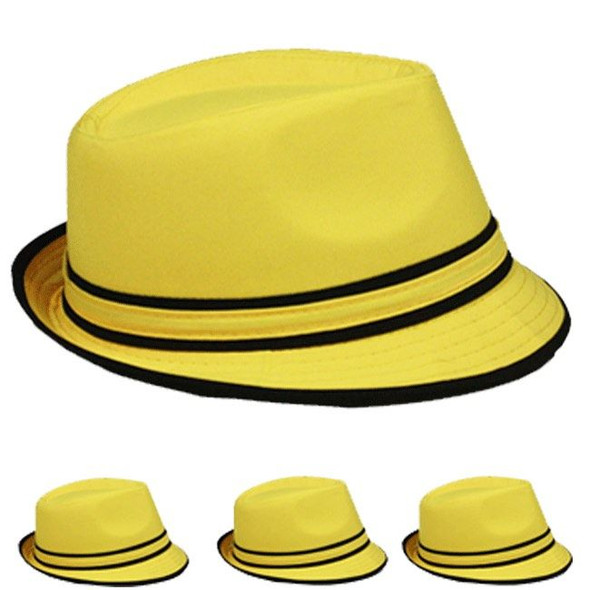 12 PACK Wholesale Yellow Fedoras | Bulk Yellow Fedoras | 5533D Adult Size