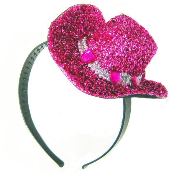 Mini Cowboy Hat Pink Glitter Headband 5803