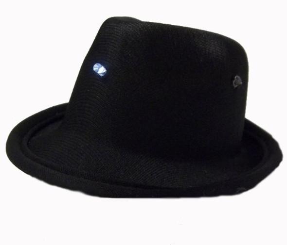 10 PACK Mini LED Fedora Hat Black w/ Clips 5806