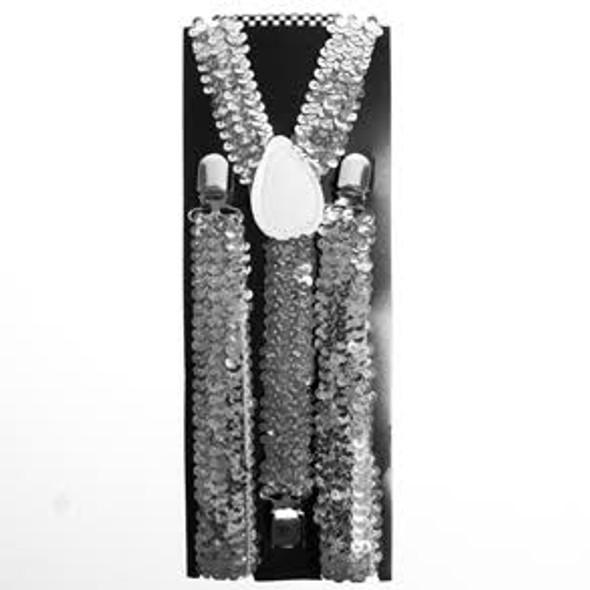 Sequin Suspenders Silver Adjustable 12 PACK 6888