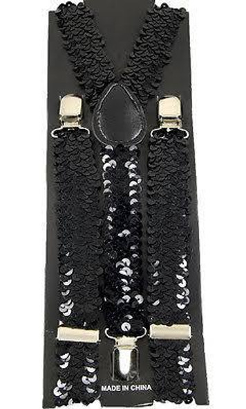 Sequin Suspenders Black Adjustable 12 PACK 6889