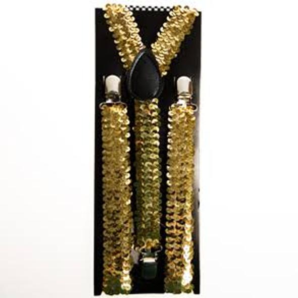 Sequin Suspenders Gold Adjustable 12 PACK 6890