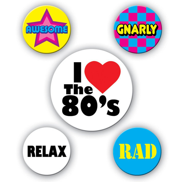 80's Party Buttons 9294