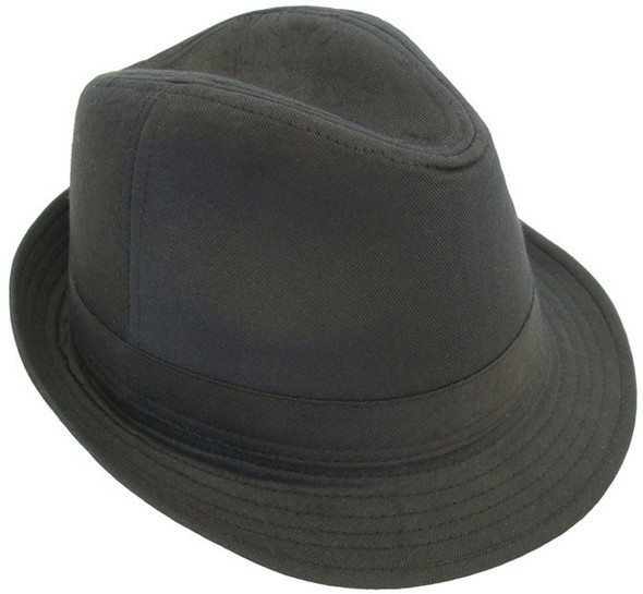 12 PACK Black Fedora Hats Gangster Pop Star Cotton WS1311D Adult Size