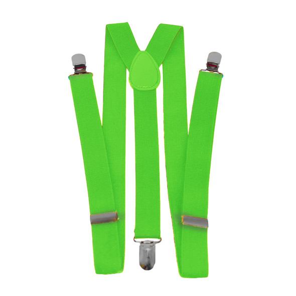 Lime Green Clip On Elastic Suspenders 12 PACK  WS1284D