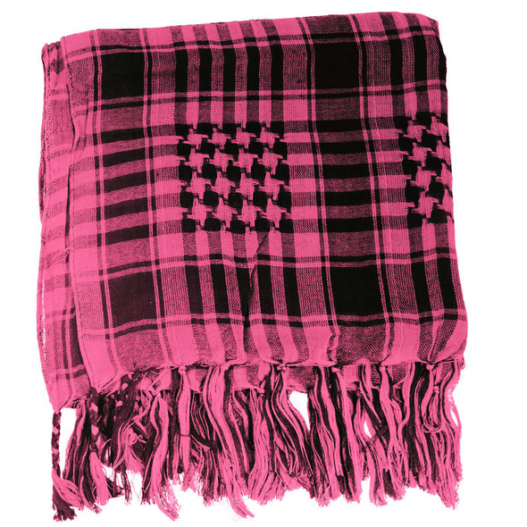 12 PACK Black And Hot Pink Arab Shemagh Houndstooth Scarf 12 PK WS2075D