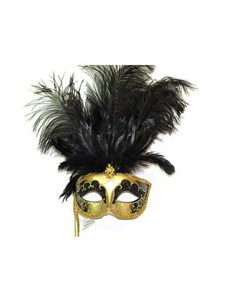 Venetian Style Masquerade Eye Mask W Tall Fancy Ostrich Feather Black/Gold 9239