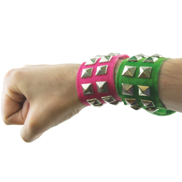 Green Wristband Neon Studded  12 PACK WS6511D