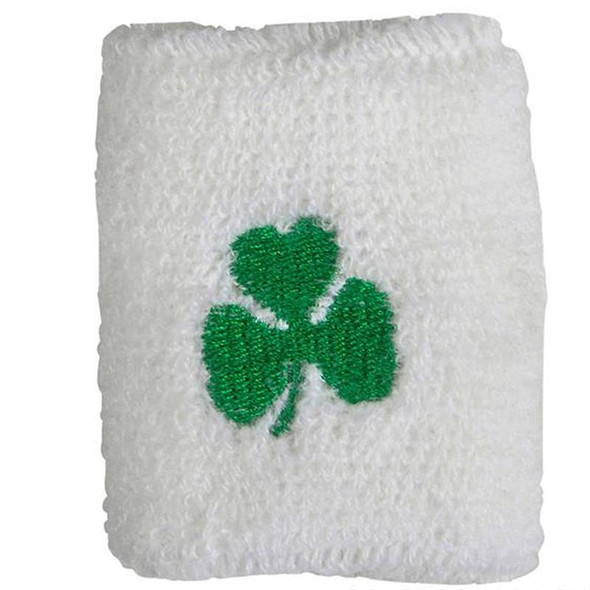 Wholesale Irish Wristbands |  12 PACK  White w/ Green Shamrock WS3078D