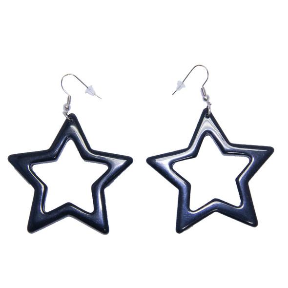 Black 80's Plastic Star Earrings 12 PACK WS6536D