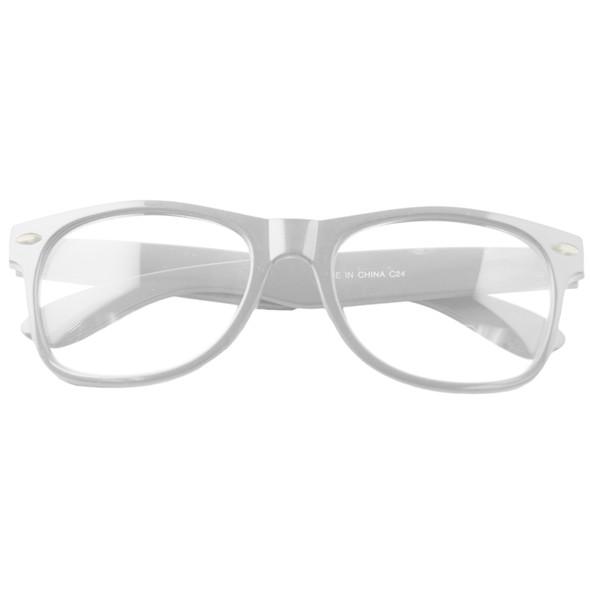 White Frame Clear Lens Glasses Adult 12 PACK WS1086D