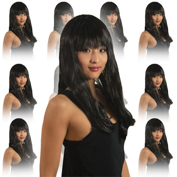 Black Diva Wig with Bangs 12 PACK  WS6026D